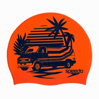 SPEEDO Шапки за плуване SLOGAN PRT CAP AU ORANGE/BLUE