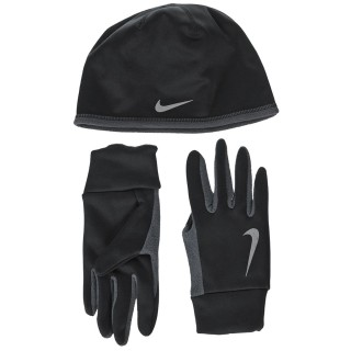 Nike- JR Фитнес аксесоари MENS NIKE RUN THERMAL HAT AND GLOVE SET L/XL BLACK/ANTHRACITE/SILVER