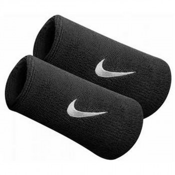Nike- JR НАКИТНИЦИ NIKE SWOOSH DOUBLEWIDE WRISTBANDS BLACK/